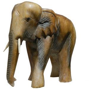 木彫り アジアン雑貨 ゾウさんの木彫り4 e-bingo