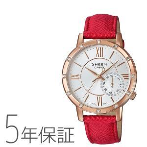 シーン SHEEN SHE-3046GLP-7BJF カシオ CASIO スワロフスキー 革バンド ピンクゴールド 赤 レッド 腕時計 レディース|e-bloom