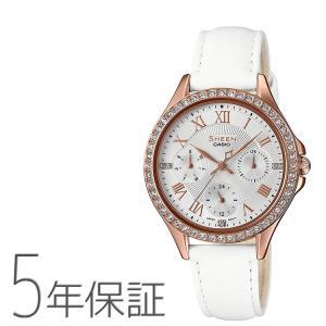 シーン SHEEN SHE-3062PGL-7AJF カシオ CASIO スワロフスキー 革バンド ピンクゴールド ホワイト 白 腕時計 レディース|e-bloom