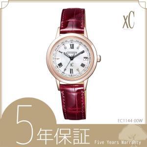 クロスシー xC EC1144-00W シチズン CITIZEN サクラピンク 電波ソーラー ワニ革バンド 赤 レッド 腕時計 レディース e-bloom