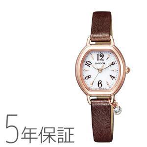 wicca ウィッカ シチズン CITIZEN KP2-566-10 スワロフスキー チャーム付き 革バンド ブレスライン ソーラー電池 ダークブラウン こげ茶色 レディース 腕時計|e-bloom