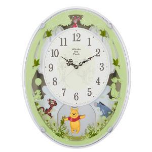 リズム時計 メロディ内臓掛け時計 電波時計 くまのプーさんM523 4MN523MC03 クロック|e-bloom