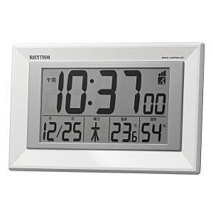 リズム時計 目覚まし時計 電波時計 掛時計 置き時計 掛置兼用 温湿度計付 フィットウェーブD204 8RZ204SR03 e-bloom