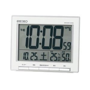 セイコー SEIKO 電波時計 温度・湿度計付き 置時計 デジタル 白 ホワイト スヌーズ機能 大画面で見やすい SQ786S 取り寄せ e-bloom