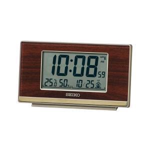 セイコー SEIKO 目覚まし時計 置き時計 電波時計 木目調 デジタル レトロ 温度・湿度表示 SQ793B インテリア時計 お取り寄せ e-bloom