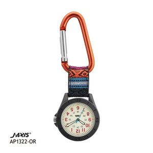 J-AXIS フックウォッチ カラビナホルダー時計 ポケットウォッチ エスニック オレンジ色 AP1322-OR|e-bloom