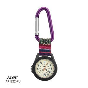 J-AXIS フックウォッチ カラビナホルダー時計 ポケットウォッチ エスニック パープル 紫 AP1322-PU お取り寄せ|e-bloom