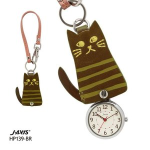 J-AXIS フックストラップ時計 スライド式 ポケットウォッチ 茶色猫 ネコ HP139-BR お取り寄せ|e-bloom