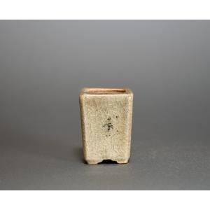 経年美化|使用済盆栽鉢 青磁釉正方懸崖盆栽鉢 豆盆栽鉢 國井正子鉢 a0001|e-bonsai