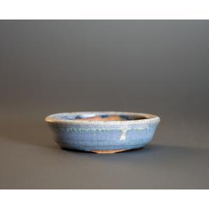 経年美化|使用済盆栽鉢 トルコ紺釉丸盆栽鉢 ミニ盆栽鉢 國井正子鉢 a0002|e-bonsai