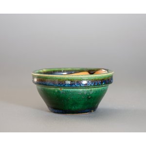 経年美化|使用済盆栽鉢 織部釉丸盆栽鉢 ミニ盆栽鉢 國井正子鉢 a0003|e-bonsai