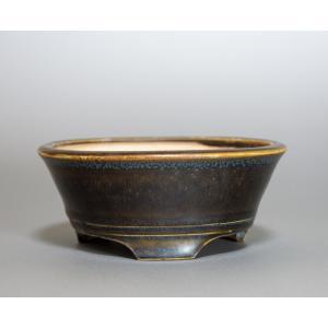 経年美化|使用済盆栽鉢 黒天目釉丸盆栽鉢 盆栽鉢 國井正子鉢 a0004|e-bonsai