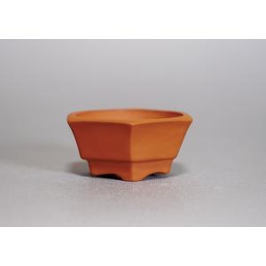 泥鉢 朱泥六角盆栽鉢 朱泥鉢 d0001|e-bonsai