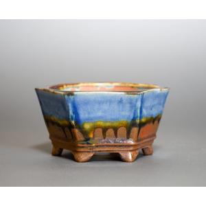 経年美化|使用済盆栽鉢 鉄赤釉六角盆栽鉢 盆栽鉢 國井正子鉢 a0005|e-bonsai