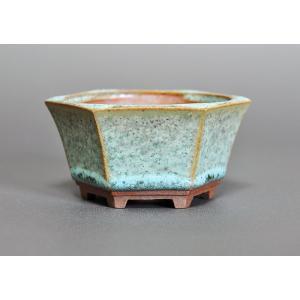 盆栽鉢 トルコ青結晶釉 六角盆栽鉢 h3217|e-bonsai