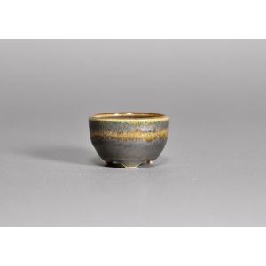 豆盆栽鉢 織部釉丸盆栽鉢 小さな盆栽鉢 h3468|e-bonsai
