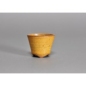 豆盆栽鉢 黄瀬戸マット釉丸盆栽鉢  小さな盆栽鉢 h3473|e-bonsai
