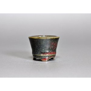 豆盆栽鉢 辰砂釉丸盆栽鉢 小さな盆栽鉢 h3641|e-bonsai