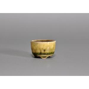 豆盆栽鉢 緑灰釉丸盆栽鉢 小さな盆栽鉢 h3655|e-bonsai