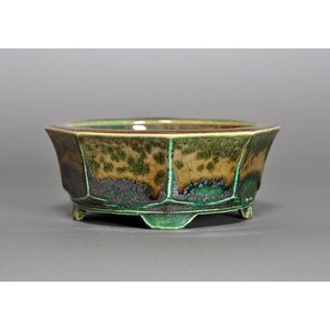 盆栽鉢 小品盆栽鉢 織部釉 八角盆栽鉢 h3693|e-bonsai