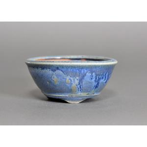 盆栽鉢 トルコ紺釉丸盆栽鉢  h3695|e-bonsai