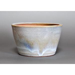 盆栽鉢 白流紋釉 丸盆栽鉢 h3702|e-bonsai