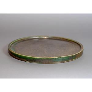 水盤 織部釉丸 水盤・陶版 h3755|e-bonsai