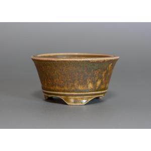 盆栽鉢・小品盆栽鉢 緑灰釉 丸盆栽鉢 h3757|e-bonsai