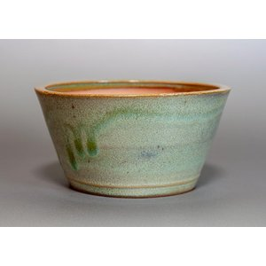 盆栽鉢 小品盆栽鉢 黄緑流紋釉 丸盆栽鉢 h3775|e-bonsai