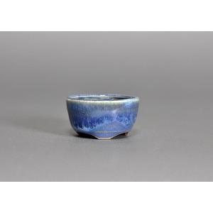 豆盆栽鉢 トルコ紺釉丸盆栽鉢 小さな盆栽鉢 p0017 e-bonsai