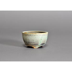 豆盆栽鉢 トルコ青結晶釉丸盆栽鉢 小さな盆栽鉢 p0021|e-bonsai