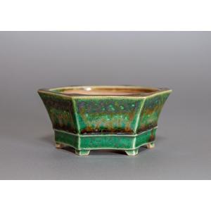 盆栽鉢 織部釉六角盆栽鉢 小品盆栽鉢 小さな盆栽鉢 p0074|e-bonsai