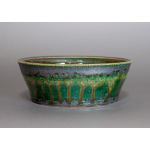 盆栽鉢 織部釉 丸盆栽鉢 小品盆栽鉢 正子鉢 p0089|e-bonsai
