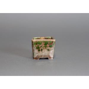 豆盆栽鉢 織部釉正方盆栽鉢 小さな盆栽鉢 p0092 e-bonsai