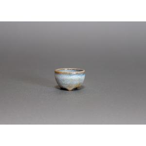 プチ盆栽鉢 白流紋釉 丸盆栽鉢 正子鉢 小鉢 小さな鉢  p0097|e-bonsai