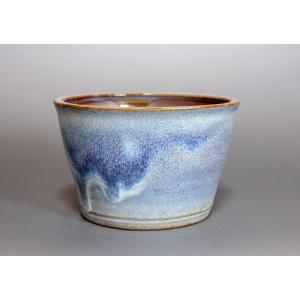 盆栽鉢 白流紋釉丸盆栽鉢 小品盆栽鉢 小さな盆栽鉢 p0102|e-bonsai