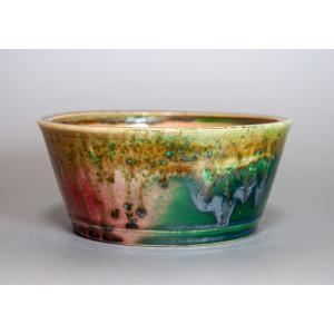 盆栽鉢 織部釉 丸盆栽鉢 小品盆栽鉢 國井正子鉢 p0115|e-bonsai