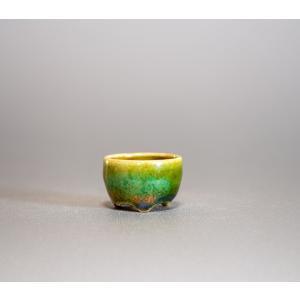 プチ盆栽鉢 織部釉 丸盆栽鉢 小鉢 小さい鉢 p0219|e-bonsai