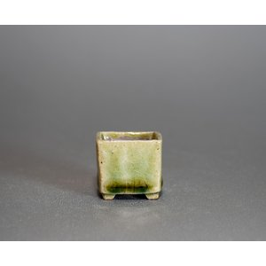 プチ盆栽鉢 緑いらぼ釉 丸盆栽鉢 小鉢 小さな鉢  p0366|e-bonsai