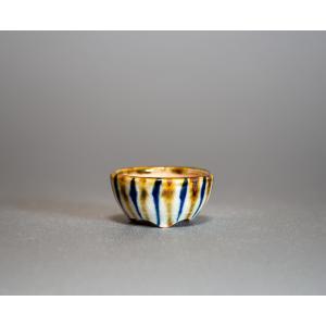 プチ盆栽鉢 下絵付透明釉 丸盆栽鉢 小鉢 小さな盆栽鉢  p0434|e-bonsai
