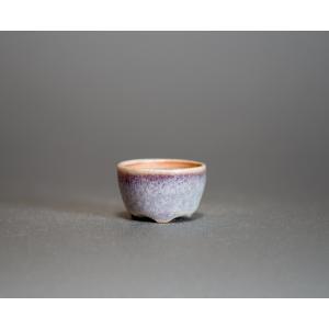 プチ盆栽鉢 白流紋釉 丸盆栽鉢 正子鉢 小鉢 小さな鉢  p0435|e-bonsai