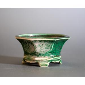 盆栽鉢 織部釉六角盆栽鉢 小品盆栽鉢 小さな盆栽鉢 p0725|e-bonsai