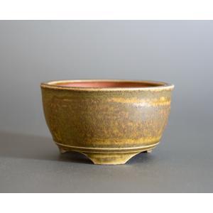 盆栽鉢 緑灰釉 丸盆栽鉢 小品盆栽鉢 小さな盆栽鉢 p0726|e-bonsai