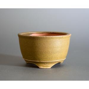 盆栽鉢 緑灰釉 丸盆栽鉢 小品盆栽鉢 小さな盆栽鉢 p0727|e-bonsai