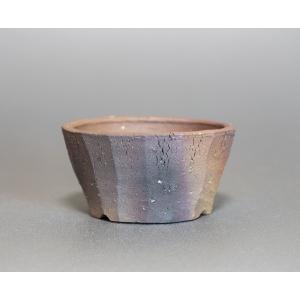 焼き締め鉢 盆栽鉢 盆栽小鉢 丸盆栽鉢 焼き締め盆栽鉢 y0016 e-bonsai