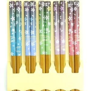 箸 セット 客用箸5膳セット スス竹水面桜箸|e-businessnext