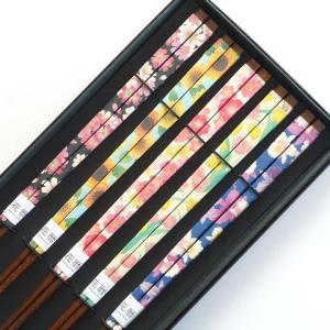 箸 セット 花模様(はなもよう) 23cm 5膳黒箱セット おもてなし ホームパーティ 誕生会 プレゼント ギフト|e-businessnext