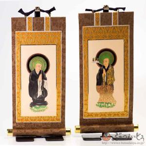 仏壇掛軸・浄土宗 脇侍セット(茶/20代)|e-butsudanya