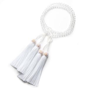 数珠・女性用 浄土真宗仕様本式数珠 クリスタル 6mm 二連 念珠|e-butsudanya
