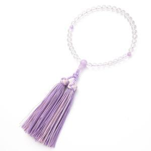 数珠・女性用 本水晶 7mm 藤雲石仕立 銀花かがり房 念珠|e-butsudanya